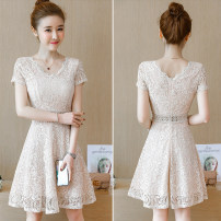 Dress Summer 2021 Off white, pink, blue, black S,M,L,XL Mid length dress singleton  Short sleeve commute Crew neck High waist character zipper Cake skirt Flying sleeve straps 18-24 years old Type A Trifolium digale Lace WY-9865 31% (inclusive) - 50% (inclusive) Lace other