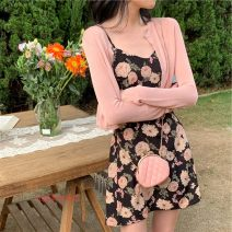 Dress Summer 2021 Pink S,M,L,XL longuette Two piece set Long sleeves commute other High waist Solid color Socket A-line skirt other camisole 18-24 years old Type A lady backless 81% (inclusive) - 90% (inclusive) Chiffon polyester fiber
