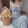 Dress Summer 2020 Broken flowers S,M,L Mid length dress Sleeveless Lotus leaf collar Decor A-line skirt other camisole