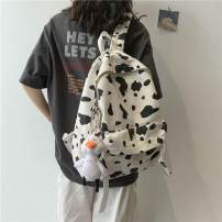 Backpack canvas Other / other zipper Japan and South Korea cotton Color contrast 15 inches