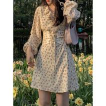 Dress Spring 2021 Off white S,M,L,XL Short skirt singleton  Long sleeves High waist Broken flowers A-line skirt 18-24 years old Type A 30% and below