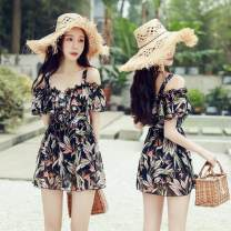 one piece  Ocnltiy M,L,XL,XXL Decor Skirt one piece With chest pad without steel support Spandex, polyester, others female Short sleeve Casual swimsuit