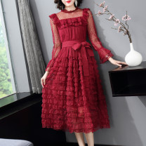 Dress Spring 2021 claret S,M,L,XL Mid length dress singleton  Long sleeves commute Crew neck middle-waisted Solid color zipper Cake skirt Petal sleeve Others 25-29 years old Type A LpDaieR lady Stitching, lace More than 95% Lace polyester fiber