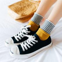 Socks / base socks / silk socks / leg socks female Other / other Average size Yellow wine red black Navy dark grey 1 pair routine Middle cylinder autumn stripe cotton