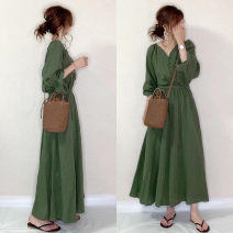 Dress Autumn 2020 green Average size longuette singleton  Long sleeves commute V-neck High waist Solid color Socket other routine Others 18-24 years old Type A Korean version 31% (inclusive) - 50% (inclusive) cotton