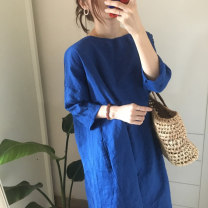 Dress Summer 2020 Average size Mid length dress singleton  three quarter sleeve commute Crew neck Loose waist Solid color Socket other other 25-29 years old Type H Other / other Make old other cotton