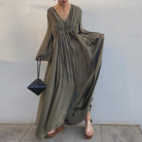Dress Autumn 2020 Army green Average size longuette singleton  Long sleeves commute V-neck Loose waist Solid color Single breasted Big swing pagoda sleeve 25-29 years old Type A Korean version fold