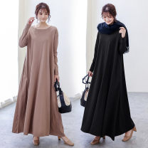 Dress Autumn 2020 Gray, black, army green, mocha, navy S,M,L longuette singleton  Long sleeves commute Crew neck Loose waist Solid color Socket A-line skirt routine 25-29 years old Type A Korean version Splicing 51% (inclusive) - 70% (inclusive) cotton