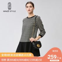 Dress Winter of 2019 90 black and white M L XL Middle-skirt singleton  Long sleeves commute Crew neck low-waisted houndstooth  Socket A-line skirt routine 35-39 years old Type A Minze style / Mingshi Road Simplicity Splicing TMTW726010 51% (inclusive) - 70% (inclusive) wool
