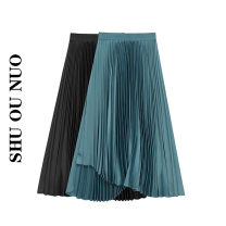 skirt Autumn 2020 Average size Peacock blue, black longuette Versatile High waist Pleated skirt Solid color Type A fold