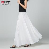 skirt Summer 2021 S. M, l, XL, 2XL, custom size, special racket longuette Versatile High waist Princess Dress Solid color Type A 71% (inclusive) - 80% (inclusive) Chiffon polyester fiber Lotus leaf edge 61G / m ^ 2 (including) - 80g / m ^ 2 (including)