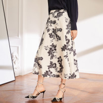 skirt Spring 2021 S,M,L,XL White printing Mid length dress commute Big flower Type H BQ00713 More than 95% other The magic magician of Oz polyester fiber Simplicity