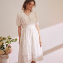 Dress Spring 2021 milky white M,L,XL Mid length dress singleton  elbow sleeve commute V-neck Elastic waist Solid color Socket routine The magic magician of Oz LSQ001917 More than 95% other cotton