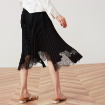 skirt Spring 2021 M, L black Mid length dress Retro High waist A-line skirt Solid color Type A BQ00103 More than 95% other The magic magician of Oz other