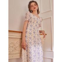 Dress Spring 2021 Light blue S,M,L Mid length dress singleton  Short sleeve commute square neck zipper puff sleeve The magic magician of Oz LSQ001953 More than 95% Lace polyester fiber