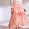 skirt Spring 2021 S,M,L Wave point Mid length dress Sweet High waist A-line skirt Dot Type A BQ00783 More than 95% Chiffon The magic magician of Oz polyester fiber