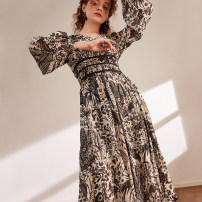 Dress Spring 2021 Black printing S,M,L Mid length dress singleton  Long sleeves commute V-neck zipper routine Type H The magic magician of Oz LSQ001934 51% (inclusive) - 70% (inclusive) Chiffon other