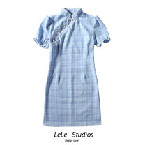 Dress Summer 2020 blue S,M,L Short skirt singleton  Short sleeve lattice other 51% (inclusive) - 70% (inclusive) other