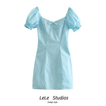 Dress Summer 2021 blue S,M,L Short skirt singleton  Short sleeve Sweet square neck High waist Solid color A-line skirt puff sleeve Others 18-24 years old Type A bow 51% (inclusive) - 70% (inclusive) other other