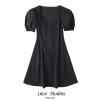 Dress Summer 2020 black S,M,L Short skirt singleton  Short sleeve street square neck High waist Solid color A-line skirt puff sleeve Type A 51% (inclusive) - 70% (inclusive) other