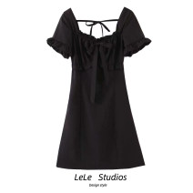 Dress Summer 2020 black S,M,L Short skirt singleton  Short sleeve street Solid color A-line skirt Type A bow 51% (inclusive) - 70% (inclusive) Europe and America