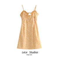 Dress Summer 2020 Decor S,M,L Short skirt singleton  Sleeveless Sweet Decor A-line skirt camisole Type A Bow, print 51% (inclusive) - 70% (inclusive) other
