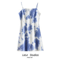 Dress Summer 2020 Tie dye black gray, tie dye blue, tie dye light green, tie dye dark green S,M,L Short skirt singleton  Sleeveless commute other A-line skirt camisole Type A tie-dyed 51% (inclusive) - 70% (inclusive) other
