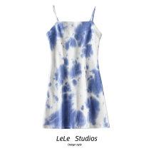 Dress Summer 2020 Tie dye black gray, tie dye blue, tie dye light green, tie dye dark green S,M,L Short skirt singleton  Sleeveless commute other A-line skirt camisole Type A tie-dyed 51% (inclusive) - 70% (inclusive) other