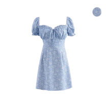 Dress Summer 2020 blue S,M,L Short skirt singleton  Short sleeve commute square neck High waist Decor Others Type A Simplicity bow 51% (inclusive) - 70% (inclusive)