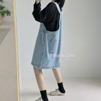 Dress Spring 2021 wathet Average size Mid length dress singleton  Sleeveless commute One word collar Loose waist Solid color Socket A-line skirt straps 18-24 years old Type A Korean version Pocket, button Denim cotton