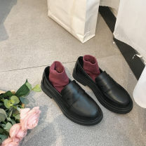 Low top shoes 35,36,37,38,39,40 Other / other Matte black, shiny black, matte (cotton), shiny (cotton) Round head PU Flat heel Low heel (1-3cm) Shallow mouth PU Autumn of 2019 Trochanter solar system Adhesive shoes Youth (18-40 years old) Solid color Composite bottom Single shoes Shallow mouth daily