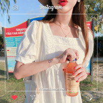 Dress Summer of 2019 Off white S,M,L,XL Middle-skirt singleton  Short sleeve commute square neck High waist Solid color Socket Type A Other / other Korean version cotton