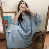 shirt White, blue S,M,L,XL Spring of 2018 other 51% (inclusive) - 70% (inclusive) Long sleeves commute Medium length Polo collar Single row multi button shirt sleeve Solid color 18-24 years old Straight cylinder Korean version Button
