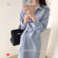 Dress Autumn 2020 Blue, black S,M,L,XL Mid length dress singleton  Long sleeves commute Polo collar High waist Solid color Single breasted Irregular skirt shirt sleeve Others Type A Other / other Korean version Asymmetry 31% (inclusive) - 50% (inclusive) polyester fiber