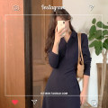 Dress Autumn 2020 Navy Blue S,M,L,XL longuette singleton  Long sleeves commute Polo collar High waist Solid color Socket A-line skirt other 18-24 years old Type A Korean version 81% (inclusive) - 90% (inclusive) brocade