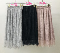 skirt Spring 2021 Average size Black, pink longuette commute Natural waist Pleated skirt Solid color Type A 18-24 years old 31% (inclusive) - 50% (inclusive) other polyester fiber Button, fold