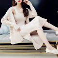 sweater Autumn 2020 S,M,L,XL,2XL Off white, khaki, green, black, temperament blue Cardigan Two piece set Medium length other 30% and below V-neck Thin money Sweet routine Solid color Self cultivation Regular wool Anti fouling and anti fouling 18-24 years old