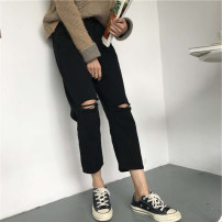 Women's large Summer 2020, spring 2020 black S [suggested 80-90 kg], m [suggested 90-105 kg], l [suggested 105-120 kg], XL [suggested 120-140 kg], 2XL [suggested 140-160 kg], 3XL [suggested 160-180 kg], 4XL [suggested 180-210 kg] Jeans commute Straight cylinder moderate Korean version cotton hole