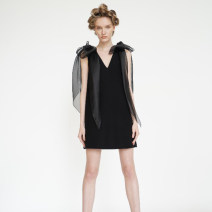 Dress Summer 2020 black XS,S,M,L Short skirt singleton  Sleeveless commute V-neck Loose waist Solid color zipper A-line skirt 25-29 years old Type A Bow, zipper A-200