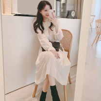 Dress Autumn of 2019 Apricot, black S,M,L,XL Mid length dress singleton  Long sleeves commute Half high collar High waist Solid color Socket Pleated skirt pagoda sleeve Others 18-24 years old Type H Other / other Korean version 31% (inclusive) - 50% (inclusive) Chiffon polyester fiber