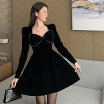 Dress Winter 2020 black S, M Short skirt singleton  Long sleeves commute square neck High waist Solid color Socket routine Korean version Splicing