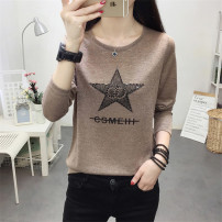 T-shirt M,L,XL,2XL Spring 2021 Long sleeves Crew neck easy Regular routine commute other 51% (inclusive) - 70% (inclusive) 18-24 years old Korean version youth Geometric patterns, letters Other / other Printed with diamond