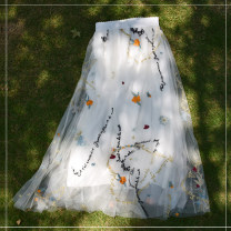 skirt Spring 2021 longuette commute High waist A-line skirt Decor Type A 25-29 years old Lace Flower contains desire element polyester fiber Gauze Simplicity