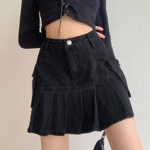 skirt Summer 2021 S,M,L,XL Black a, black B [side pocket] Short skirt commute High waist A-line skirt Solid color Type A 31% (inclusive) - 50% (inclusive) other other pocket Korean version