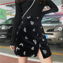 skirt Autumn of 2019 M,L,XL,2XL,3XL,4XL black Short skirt commute High waist Irregular Solid color Type A 18-24 years old 71% (inclusive) - 80% (inclusive) other Cellulose acetate Retro