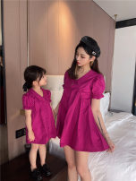 Parent child fashion violet Women's dress female Other / other 80cm, 90cm, 100cm, 110cm, 120cm, 130cm, mom M summer Korean version routine Solid color skirt cotton M Cotton 100% Class A 3 years old, 18 months old, 5 years old, 12 months old, 2 years old, 4 years old Chinese Mainland