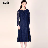 Dress Autumn of 2019 orchid Mid length dress singleton  Long sleeves commute V-neck High waist Solid color zipper A-line skirt routine 35-39 years old Type X B. Siqi / beisiqi Simplicity 51% (inclusive) - 70% (inclusive) other polyester fiber