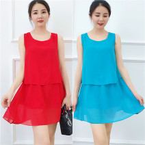 Dress Summer 2020 M,L,XL,2XL,3XL,4XL,5XL,6XL Short skirt Fake two pieces Sleeveless commute Crew neck Loose waist Solid color Socket A-line skirt other Others Type A Korean version Splicing 51% (inclusive) - 70% (inclusive) Chiffon other