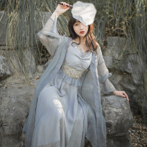 Dress Summer 2020 grey S,M,L longuette Two piece set Long sleeves commute V-neck Solid color zipper pagoda sleeve Others 18-24 years old Retro