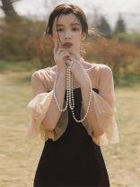 Dress Summer 2020 black S,M,L,XL,2XL longuette singleton  Short sleeve commute square neck High waist Solid color zipper other pagoda sleeve Others Retro Gauze